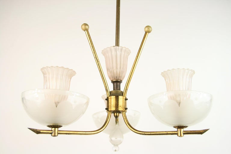 Mid-20th Century Pale Pink Muranno Glass and Brass 3-Light Chandelier For Sale