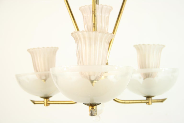 Pale Pink Muranno Glass and Brass 3-Light Chandelier For Sale 2