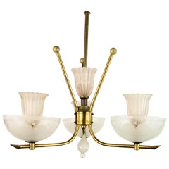 Pale Pink Muranno Glass and Brass 3-Light Chandelier