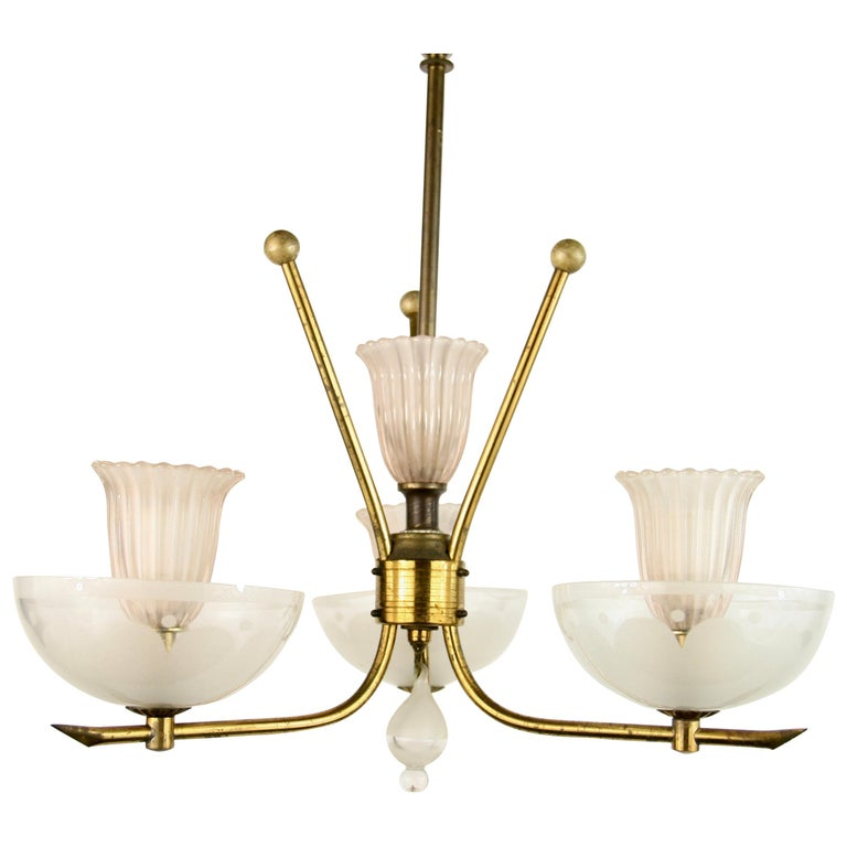 Pale Pink Muranno Glass and Brass 3-Light Chandelier For Sale