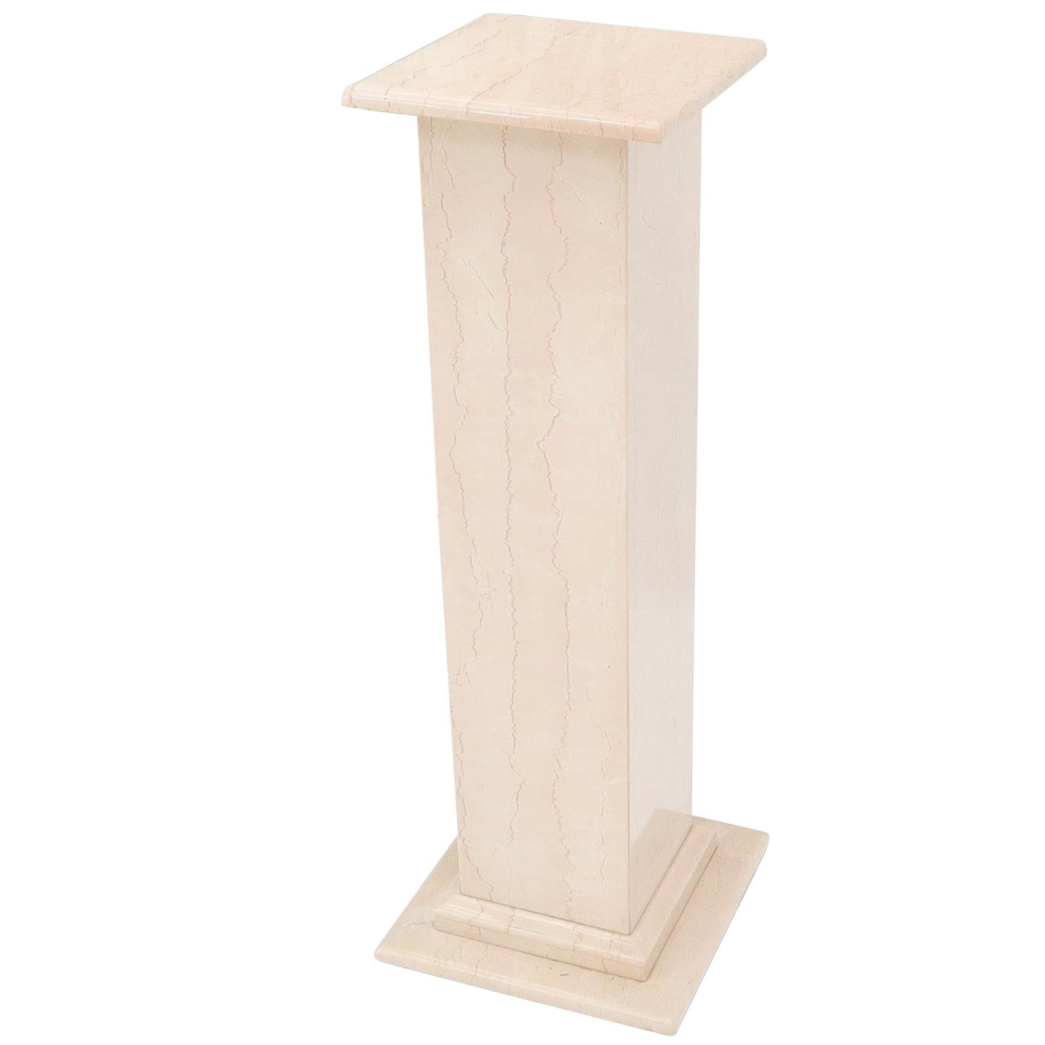 Pale Pink to White Marble Square Pedestal Stand