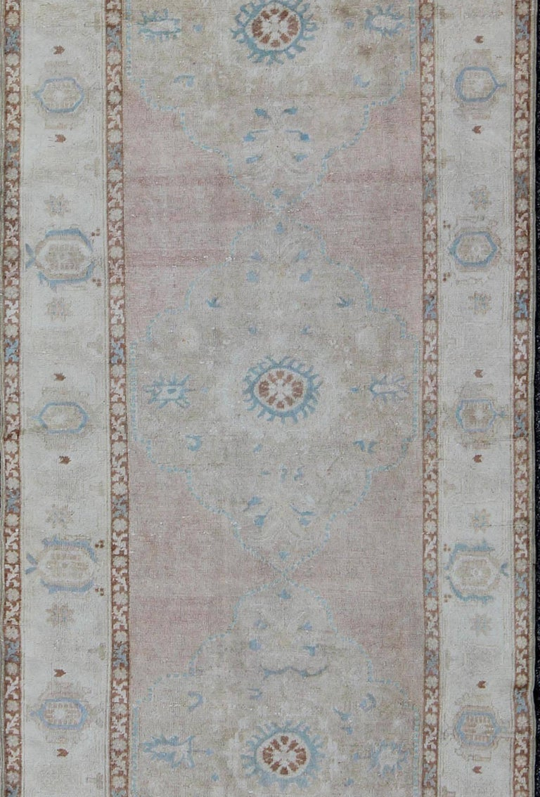 Hand-Knotted Pale Pink, Light Blue and Ivory Vintage Turkish Oushak Runner For Sale