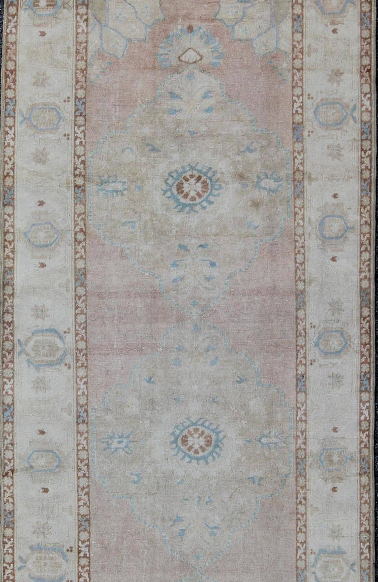 Pale Pink, Light Blue and Ivory Vintage Turkish Oushak Runner In Excellent Condition For Sale In Atlanta, GA