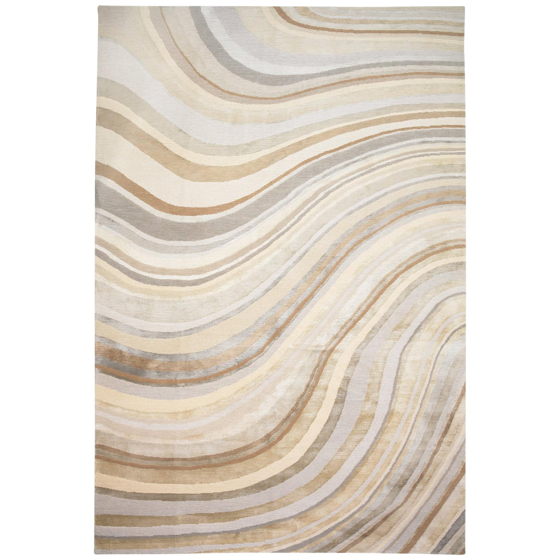 Pale Swirl Hand-Knotted 10x8 Rug in Wool and Silk by Paul Smith