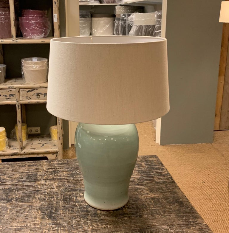 Pale Turquoise Classic Shaped Pair Terracotta Lamps, Contemporary, China In New Condition For Sale In New York, NY