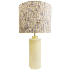 Pale Yellow Pastel Ceramic Pottery Table Lamps, Zaccagnini, Italy