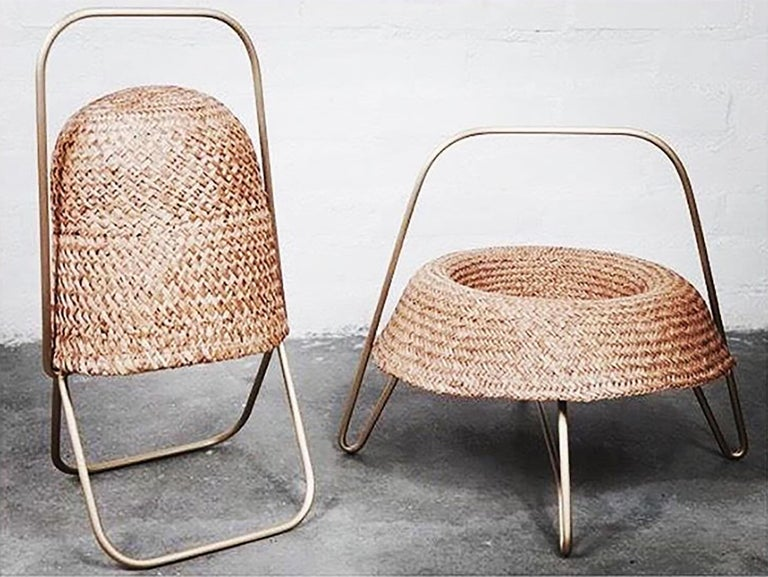 Designed by Brunno Jahara, contemporary Brazilian design, Wicker and Brass. Brazil, 2018.  The Fruit tray is made of wicker, in the form of a hat, referring to the Brazilian interior tradition and the frequent use of this accessory by rural