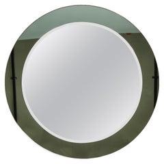 Paleari Milan Midcentury Italian Round Mirror with Double Frame Crystal Art 1960