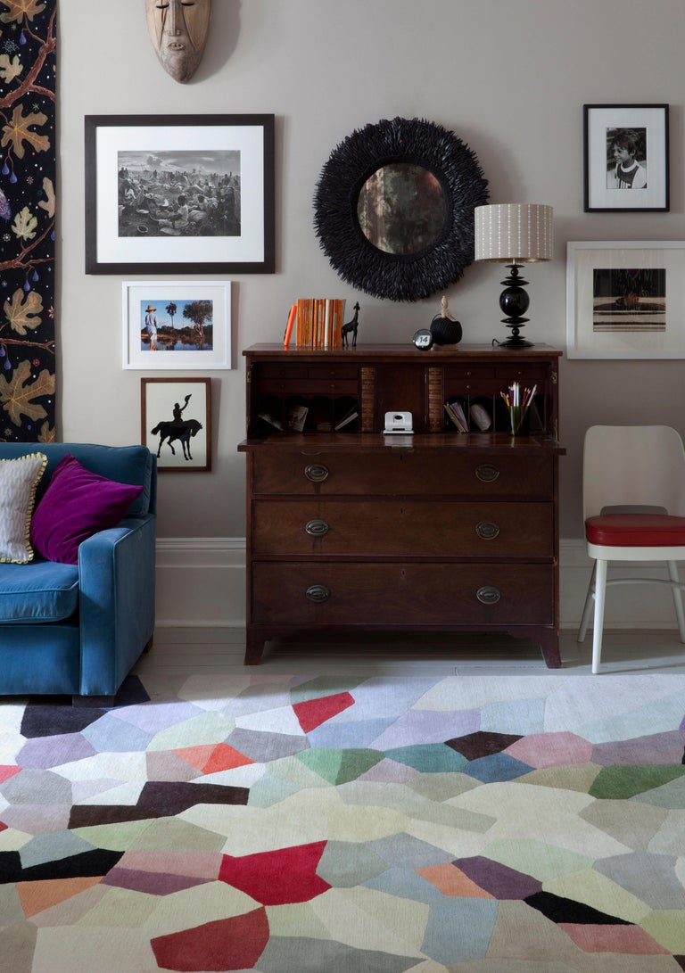 """Our Palette contemporary rug by Fiona Curran is a riot of color hand-knotted in Tibetan wool. Fiona says: """"Palette depicts an explosion of color that developed out of painted and collaged forms combined with computer manipulation"""". Hand-knotted"""