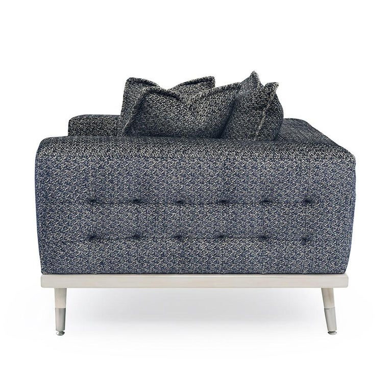 Modern Palisades Armchair in Antique Silver and Navy by Badgley Mischka Home For Sale