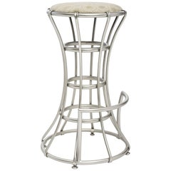 Palisades Bar Stool in Antique Silver & Vanilla by Badgley Mischka Home