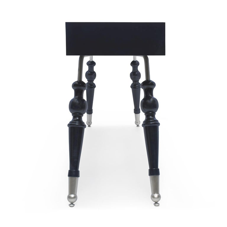 Modern Palisades Console in Midnight Navy & Antique Silver by Badgley Mischka Home For Sale