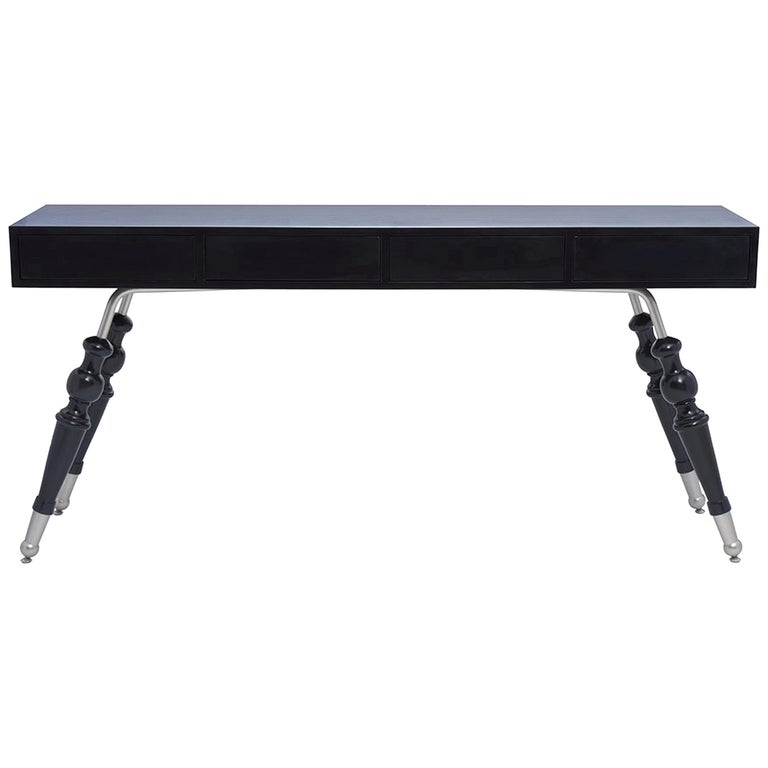 Palisades Console in Midnight Navy & Antique Silver by Badgley Mischka Home For Sale