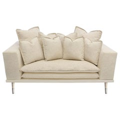 Palisades Loveseat in Antique Silver and Ivory by Badgley Mischka Home