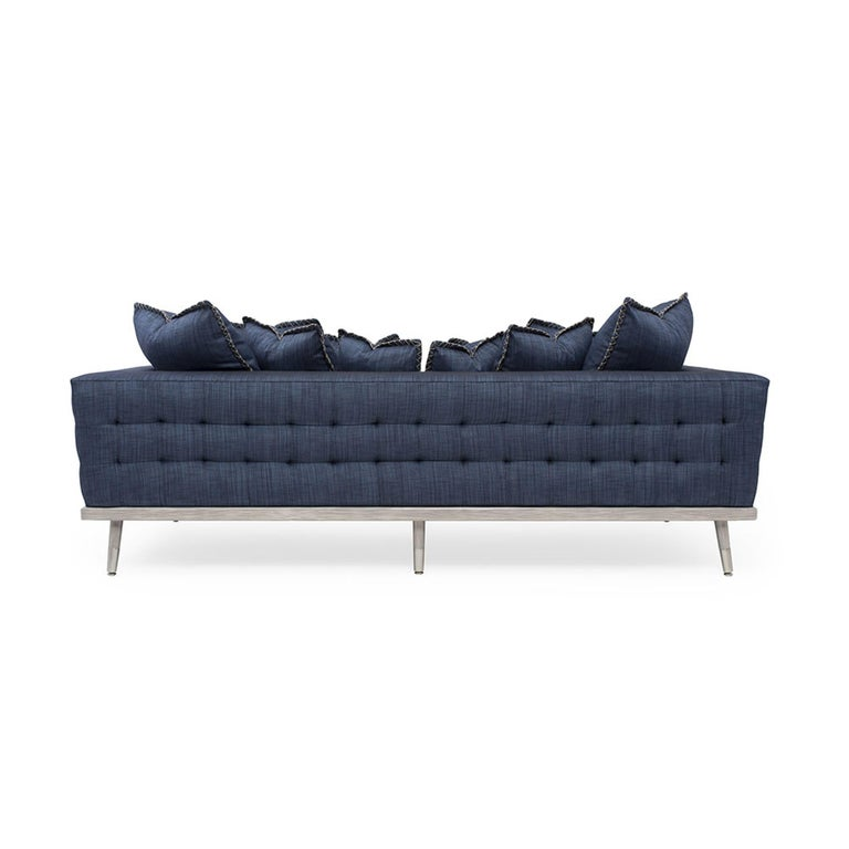 Modern Palisades Sofa in Stone Gray and Indigo by Badgley Mischka Home For Sale