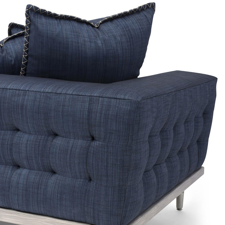 Mexican Palisades Sofa in Stone Gray and Indigo by Badgley Mischka Home For Sale