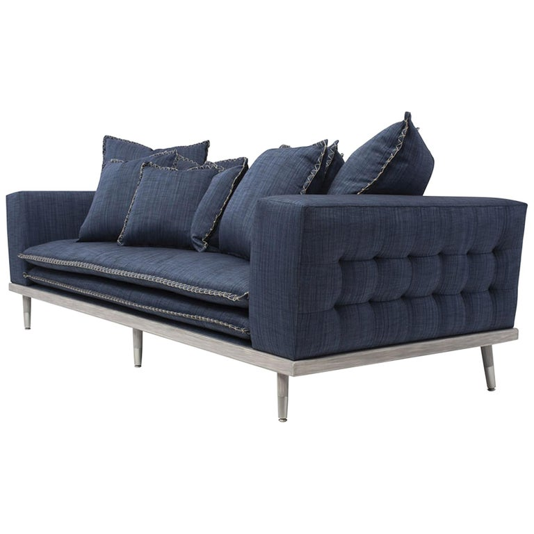 Palisades Sofa in Stone Gray and Indigo by Badgley Mischka Home For Sale
