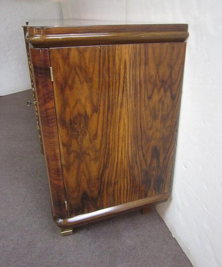 Palisander Art Deco Cabinet with Exotic Inlay, Jules Leleu For Sale 10
