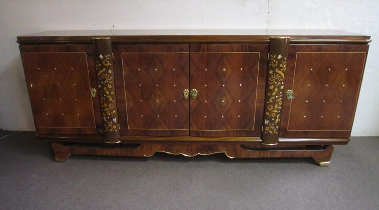 Palisander Art Deco Cabinet with Exotic Inlay, Jules Leleu For Sale 13
