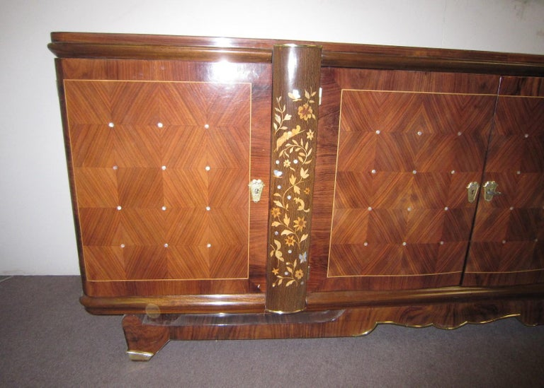 French Palisander Art Deco Cabinet with Exotic Inlay, Jules Leleu For Sale