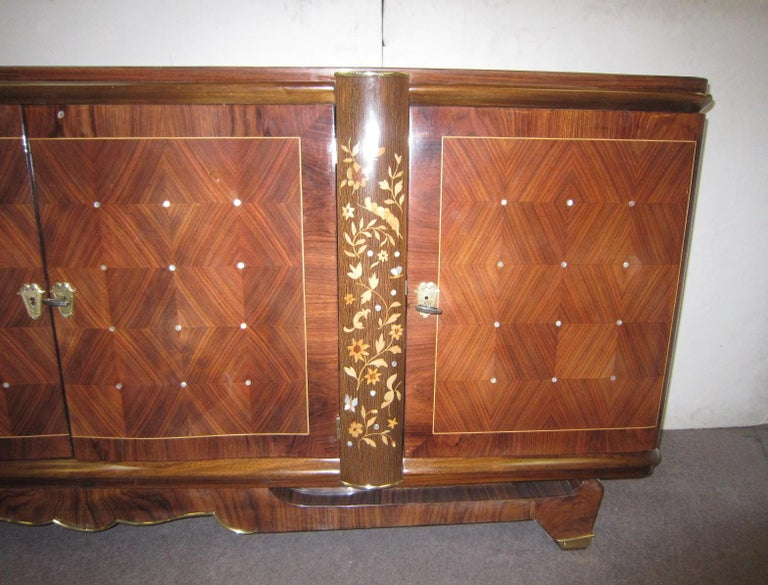 Marquetry Palisander Art Deco Cabinet with Exotic Inlay, Jules Leleu For Sale