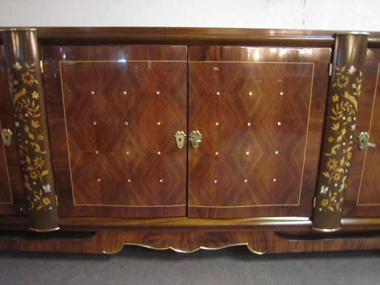 Palisander Art Deco Cabinet with Exotic Inlay, Jules Leleu In Good Condition For Sale In New York City, NY