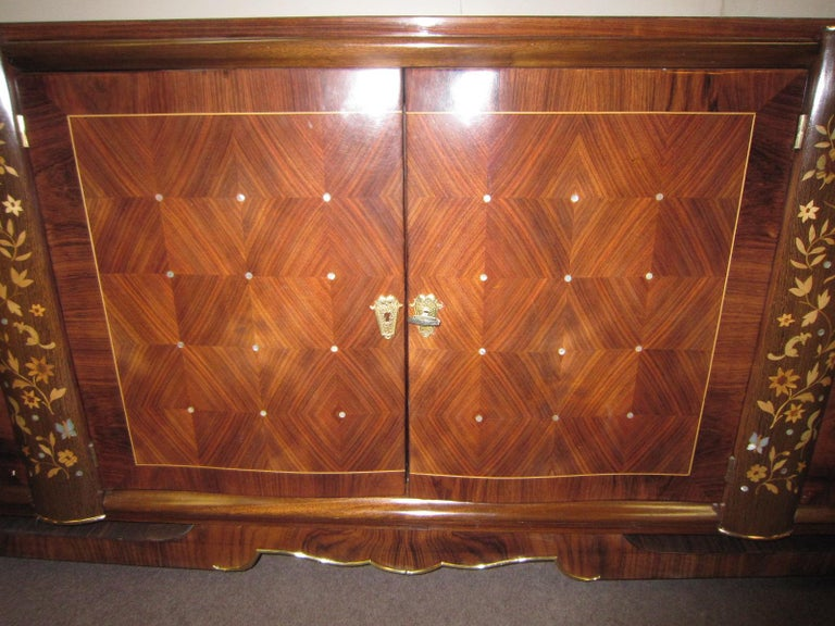 20th Century Palisander Art Deco Cabinet with Exotic Inlay, Jules Leleu For Sale