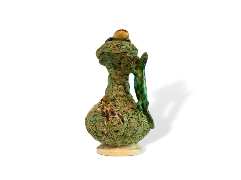 Palissy Ware Majolica Ewer, Portuguese, circa 1880 by Manuel Mafra, Caldas da Rainha. For over 28 years we have been among the Nation's preeminent specialists in Fine antique Majolica.  Book Reference: Marshall P. Katz, Portuguese Palissy Ware: A