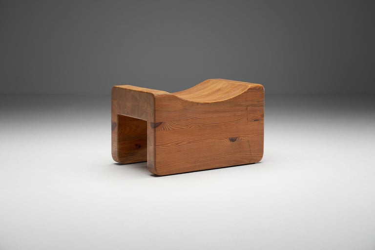 """This """"Pall"""" or """"Palle"""" stool was designed and manufactured by K. J. Pettersson & Söner Storvreta in the second half of the 1970s. This model has long been misattributed to Axel Einar Hjorth.  This Pall tabouret is made of solid pine wood with"""