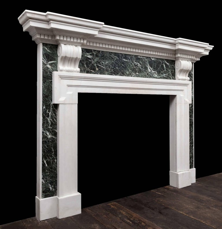 Carved Palladian Marble Fireplace For Sale