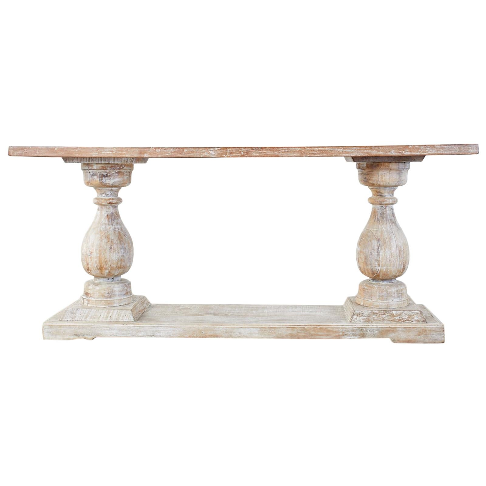 Palladian Style Cerused Oak Baluster Sofa or Console Table