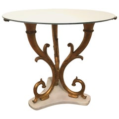 Palladio Gilded Iron Side Table with Mirrored Top