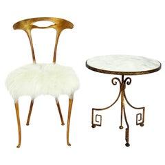 Palladio Gilt Metal Chair and Table