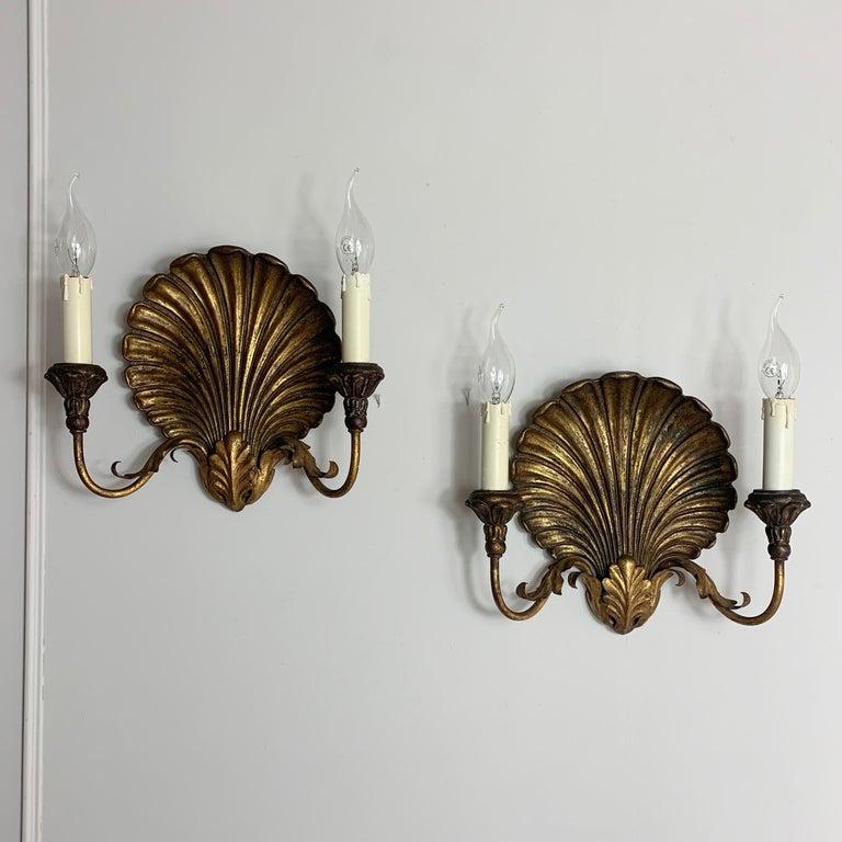 Palladio Italian Gilt Shell Wall Lights, 1970s For Sale 4