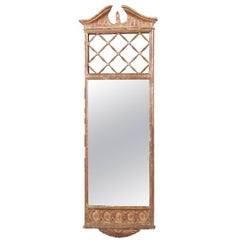 Palladio Italian Neoclassical Painted and Parcel Gilt Hand Carved Wall Mirror