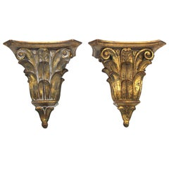 Palladio Italian Neoclassical Style Giltwood Wall Brackets / Shelves