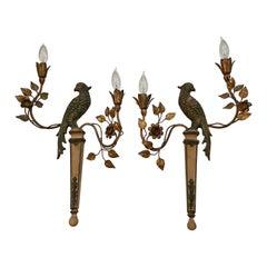Palladio Vintage Gilt Metal and Wood Bird Sconces