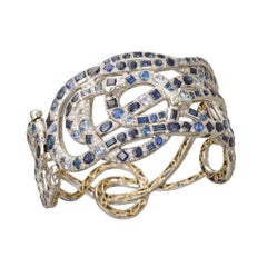 Palladium 950 Yellow Gold Blue Sapphires White Diamonds Bangle Aenea