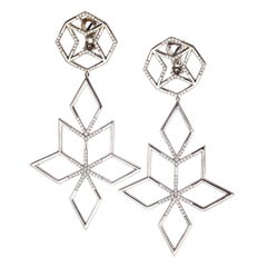 Palladium and White Diamonds Earrings Aenea Jewellery