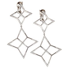 "Palladium and White Diamonds Earrings ""Star"""