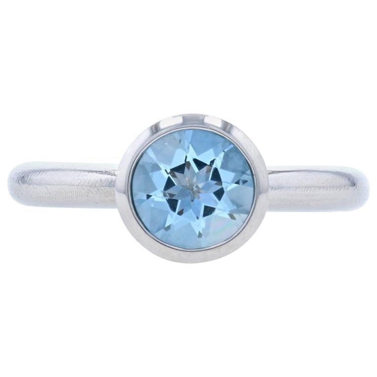 Palladium Aquamarine Solitaire Ring, Round Cut 1.90 Carat Engagement
