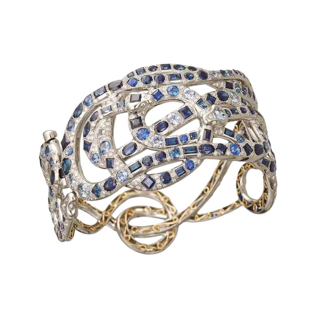 AENEA Palladium 18k Yellow Gold Blue Sapphires White Diamonds Bangle