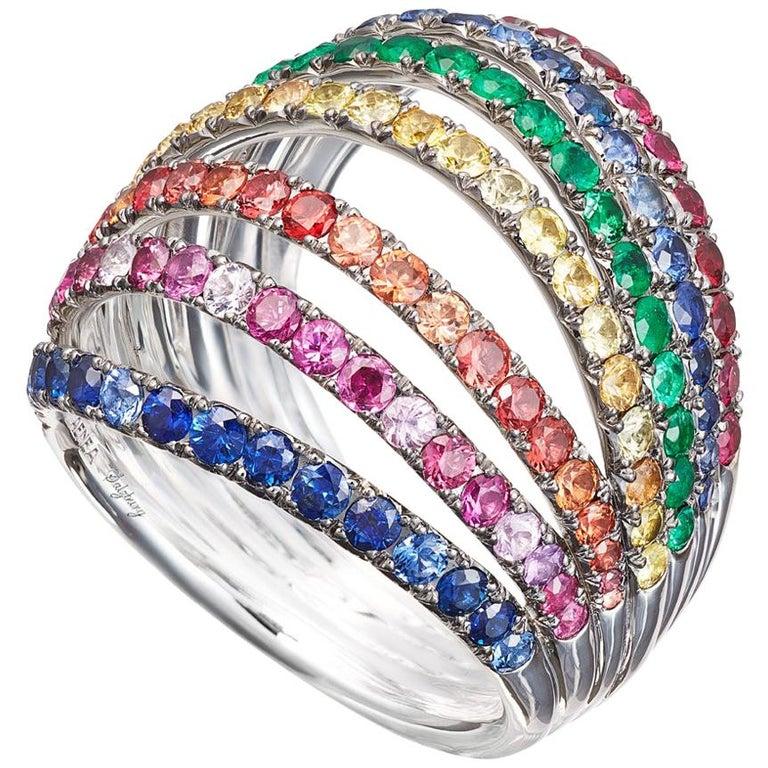 Palladium Blue Sapphires White Diamonds Earrings Aenea Jewellery For Sale 8