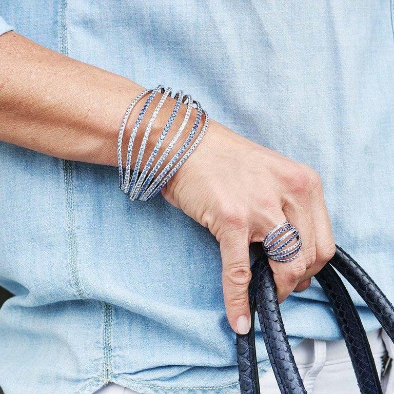 Palladium Blue Sapphires White Diamonds Earrings Aenea Jewellery For Sale 12