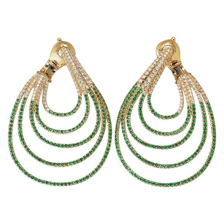 Palladium Blue Sapphires White Diamonds Earrings Aenea Jewellery For Sale 1