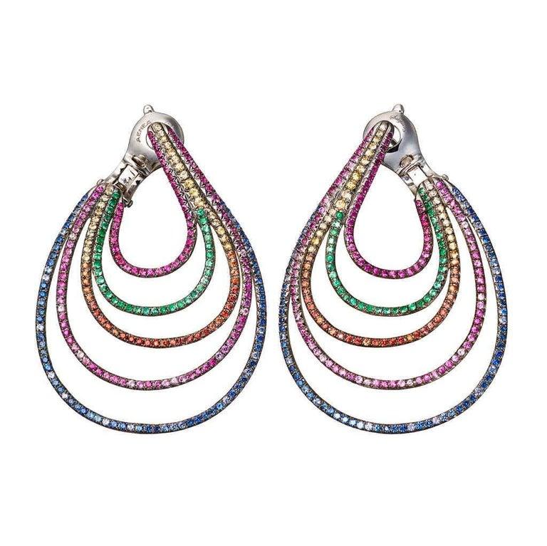 Palladium Blue Sapphires White Diamonds Earrings Aenea Jewellery For Sale 4