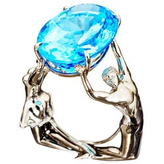 Palladium Blue Topaz Cocktail Ring Aenea Jewellery
