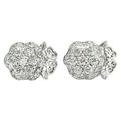 Palladium Diamond Cluster Earrings