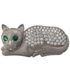 Palladium Diamond Emerald Cat Brooch