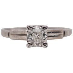 Palladium Old European Cut Diamond Solitaire Engagement Ring